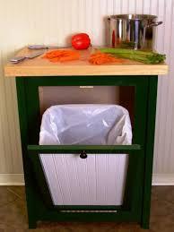 kitchen island with garbage storage chrome bar stools back brown