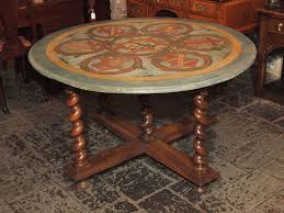 antique french walnut base with painted round table top at 1stdibs