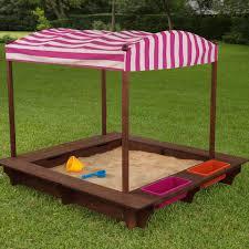 espresso cabana sandbox with pink u0026 white stripes