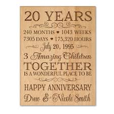 20 year anniversary gifts for personalized 20th anniversary gift for him 20 year wedding