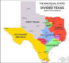 tecas map the united states of map shows divided into 9 states