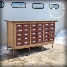 vintage industrial card catalog library cart parts cabinet