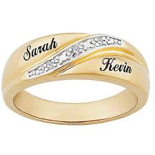 ring with name engraved personalized men s diamond accent 10kt gold engraved name wedding