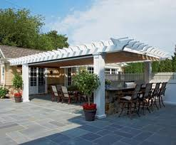pergola outdoor kitchen cellular pvc pergola over outdoor kitchen with shadefx canopy