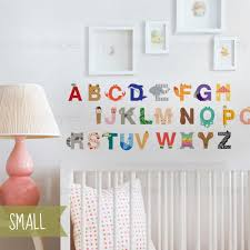Nursery Stickers Alphabet Wall Sticker Peel And Stick Repositionable Fabric Stickers