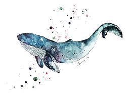 art print watercolor blue whale home decor ocean art print sea