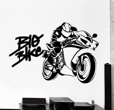 Home Interiors Products Wall Vinyl Decal Quote Big Bike Biker Speed Home Interior Decor