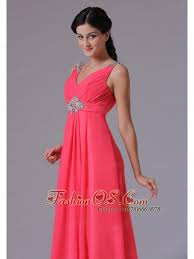 coral red v neck beading and ruch plus size prom dress with floor