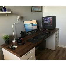 Gaming Desk Ikea Ikea Karlby Countertop In Walnut Color Resting On Two Ikea Alex