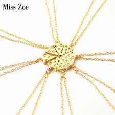 gold best friends necklace images Miss zoe 8pcs set pizza cheese pendant necklaces gold silver jpg