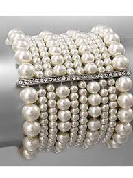 pearl style bracelet images Ivory faux pearl marcasite bracelet deco style jewelry blue jpg