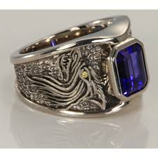 ring men tanzanite and diamond wolf ring in palladium