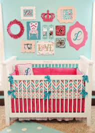 Pink And Teal Crib Bedding Lila S Chevron Nursery Project Nursery
