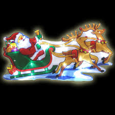 light up santa claus with reindeer and sleigh silhouette