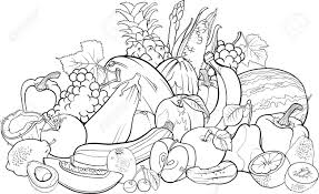 black and white cartoon illustration of fruits and vegetables