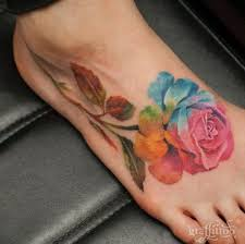 Pretty Flowers For Tattoos - 50 elegant foot tattoo designs for women watercolor rose