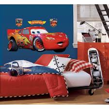 roommates 5 in x 19 in cars lightening mcqueen 4 piece peel and cars lightening mcqueen 4 piece peel and stick giant wall decal rmk1518gm the home depot
