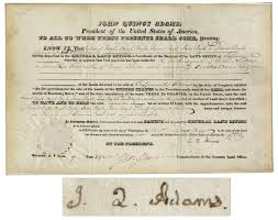 lot detail john quincy adams land grant signed as president in 1826