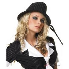 Plus Size Halloween Costumes Womens Fedora Hat With Pinstripes Black White Classic Brimmed Hat