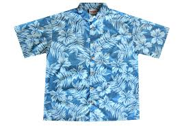 distressed blue hawaiian shirts