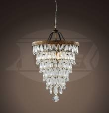 Antique Crystal Chandelier Crystal Cone Shape 4 Light Antique Copper Glass Drop Crystal