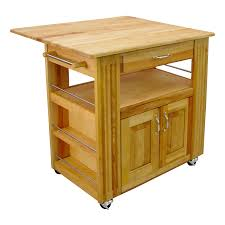 catskill butcher block island cart with drop leaf