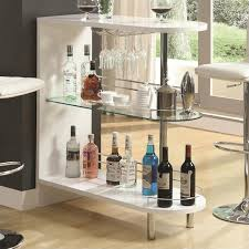 Home Bar Table Coaster Contemporary Home Bar Table With Glass Shelf In White 101064