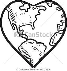 vector clipart of love for the earth sketch doodle style