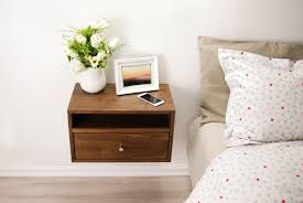Floating Nightstand Shelf Floating Nightstand With Drawer And Open Shelf Walnut Wood