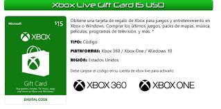 xbox digital gift card xbox digital gift card 15 usd u s 15 99 en mercado libre