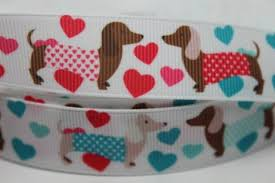 ribbon by the yard 7 8 dachshund heart print grosgrain ribbon by the yard for hairbows