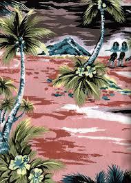 Hawaiian Curtain Fabric Isles Barkcloth Hawaii Fabrics Vintage Style Hawaiian Fabrics