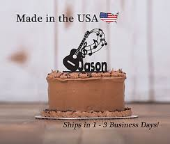 guitar cake topper acoustic guitar cake topper musician band notes birthday