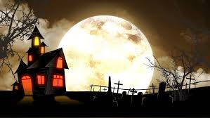 spooky halloween haunted house animation with full moon and