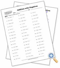 basic operations with negatives worksheetworks com