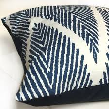 Pillow Designs by Navy Blue Cream Bali Ikat Ethnic Chevron Geometric Pillow Cover