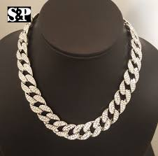 silver chain choker necklace images Hip hop men quavo silver pt iced out 15mm 16 quot miami cuban choker jpg