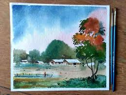 a day for beginners ideas for easy landscape paintings watercolor