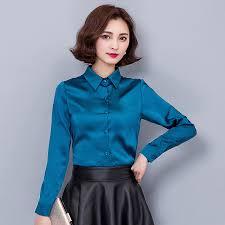 in satin blouses 2016 lapel slim stretch silk satin shirts blouses blue