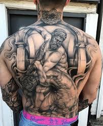 hercules fighting the centaur nessus mens back tattoo best