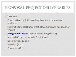 major sections proposal writing proposal project deliverables