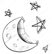 sketch weather icons moon and stars u2014 stock vector chuhail