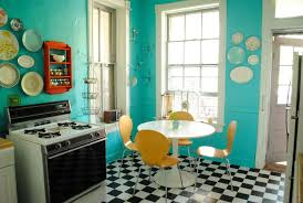 retro kitchen decorating ideas teal wall paint color and chess board tile floor plans for small