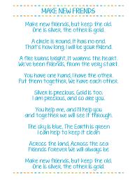 printable lyrics make new friends printable girl scout song lyrics