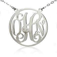 White Gold Name Necklace Solid White Gold Initial Monogram Name Necklace
