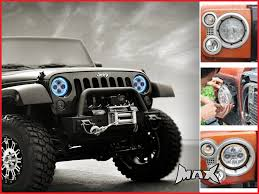 halo jeep wrangler 7 inch high quality quad projector led headlight blue halo