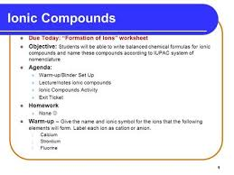 writing and naming ionic formulas ppt download