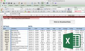 Yahoo Finance How To Import Price Data Into Excel Market Index