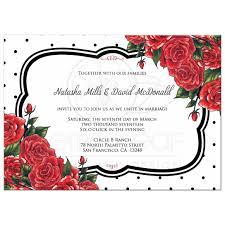 wedding invitations rose wedding invitation black polka dots with red roses