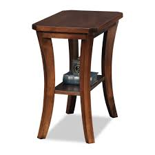 leick corner accent table boa narrow chairside table chocolate brown cherry leick